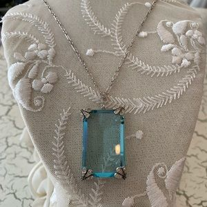 Vintage Faceted Czech Glass Aquamarine Pendant